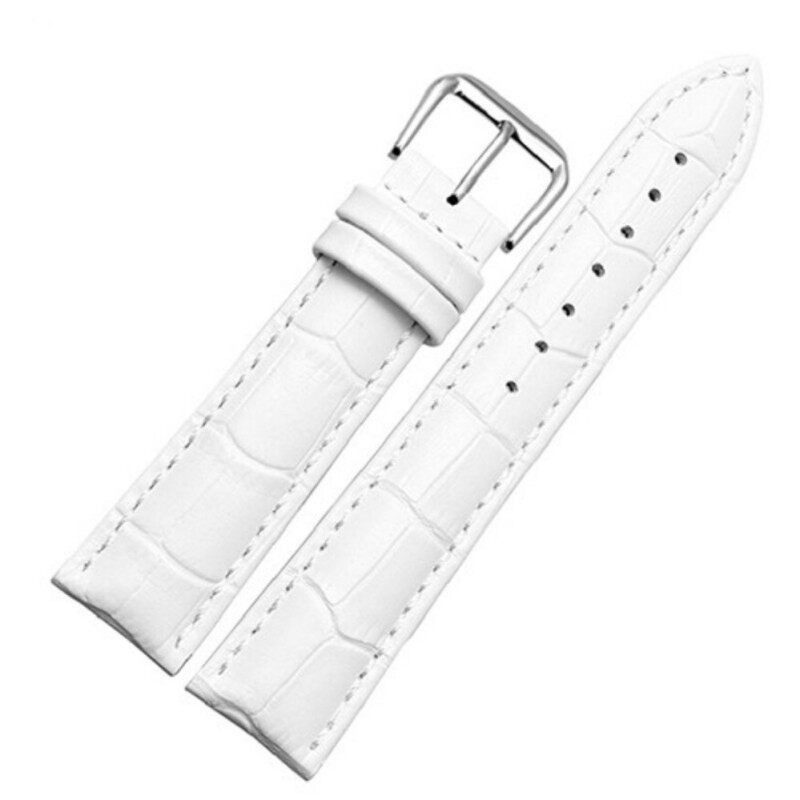 Sanwood® Unisex Faux Leather Watch Strap Buckle Band Black Brown White 18mm (White) Malaysia