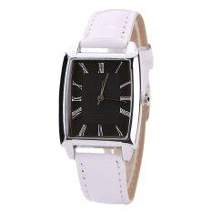 Sanwood® Unisex Square Case Faux Leather Band Quartz Business Casual Watch White Black Malaysia