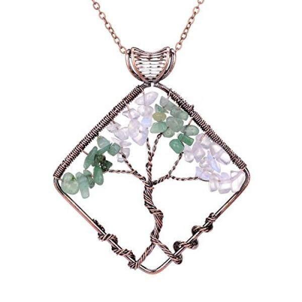 Sedmart Pohon Kehidupan Liontin Opal Hijau Aventurine Persegi Kalung Penyembuhan Gemstone Modis Perhiasan Hadiah Hari Ayah