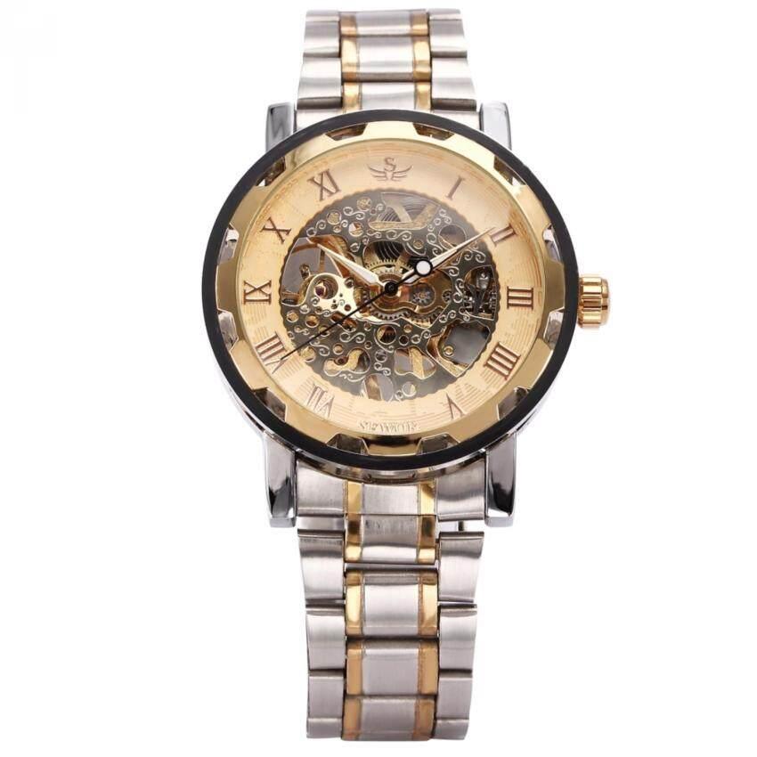 Mechanical Watches Men's Watches 2017 New Fashion Skeleton Black Steel Men Male Clock Sewor Brand Hollow Cool Stylish Design Classic Mechanical Wrist Dress Watch