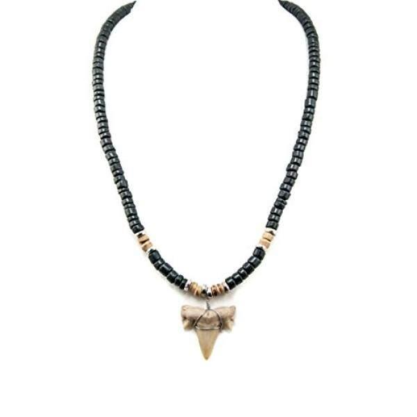 Shark Gigi Liontin Pada Hitam dan Harimau Kayu Kelapa Manik Kalung dengan Perak Manik-manik Berwarna (2 S Shark Gigi) -Internasional
