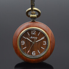Shuhang Brand Bronze Tone Wooden Case Japan Quartz Movement Mens Womens Pocket Watch W/Chain Luxury Wooden Watches Malaysia