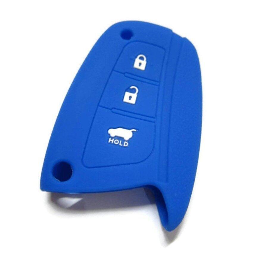 Silicone Key Cover Case Compatible with Hyundai Santa Fe 2015-2018 (Blue)