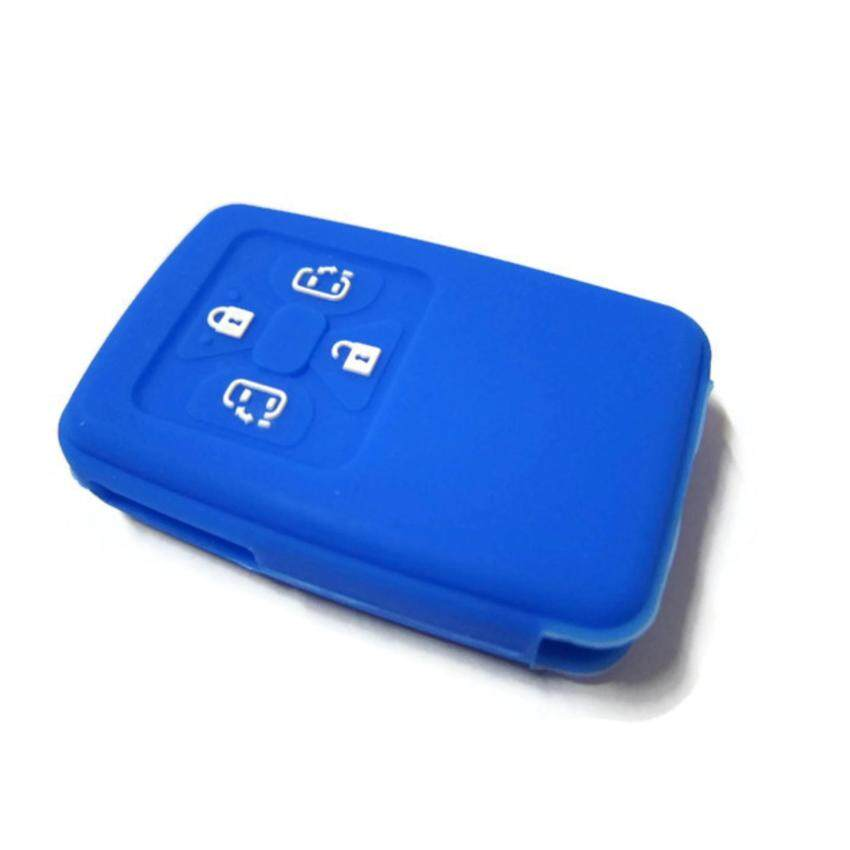 Silicone Key Cover Case For Toyota Alphard Vellfire & Estima With 4 Buttons Remote (Blue)
