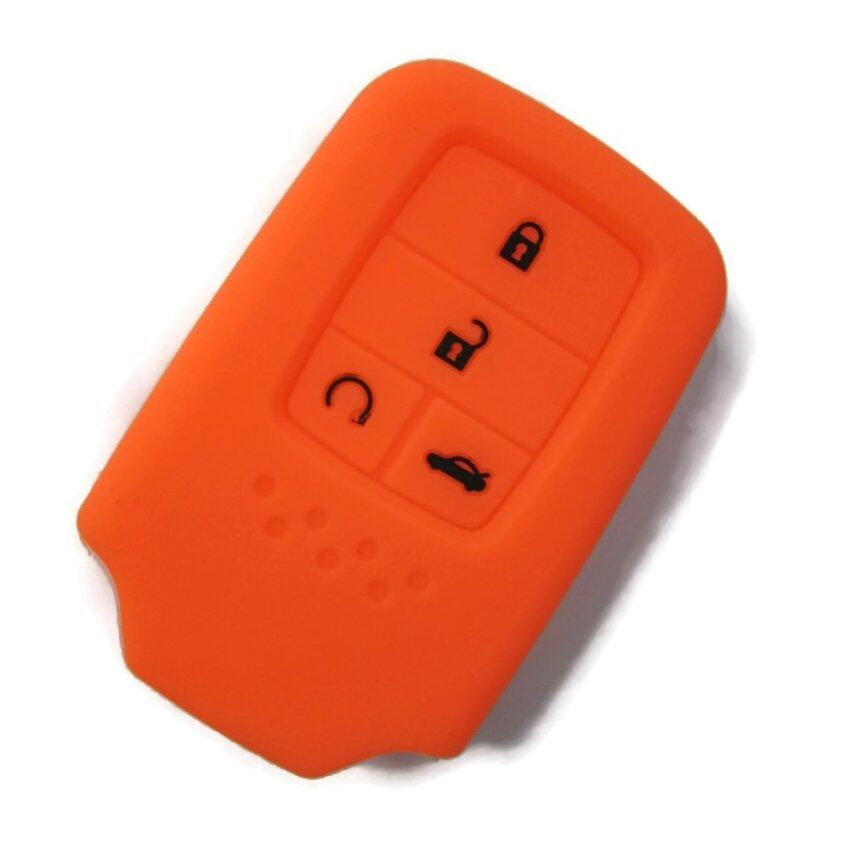 Silicone Keyless Remote Key Cover Case Compatible with All-New Honda Civic 2016-2017 (Orange)