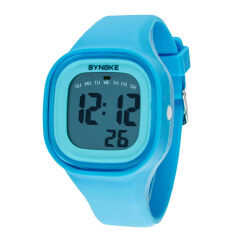 Silicone LED Light Digital Sport Wrist Watch Kid Women Girl Men Boy Blue Malaysia