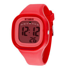 Silicone LED Light Digital Sport Wrist Watch Kid Women Girl Men Boy Red Malaysia