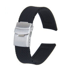 Silicone Rubber Waterproof Watch Strap Band Deployment Buckle (Black) Malaysia