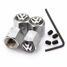 Silver 4pcs Anti-Theft Style Volkswagen Vw Logo Car Badge Wheel Tire Valve Cap Tyre Dust Cap For Polo Golf Jetta Accessorie By Pandaoo Store.