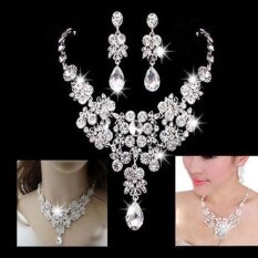 Linfang Silver Alloy Rhinestone Earrings Crystal Pendant Necklace Bridal Jewelry Sets By Linfang Store.