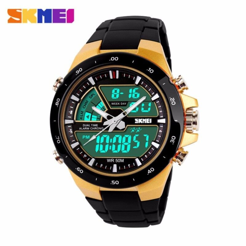 SKMEI 1016 Men Sports Watches Digital Analog Alarm Waterproof Military Multifunctional Wristwatches Gold Malaysia