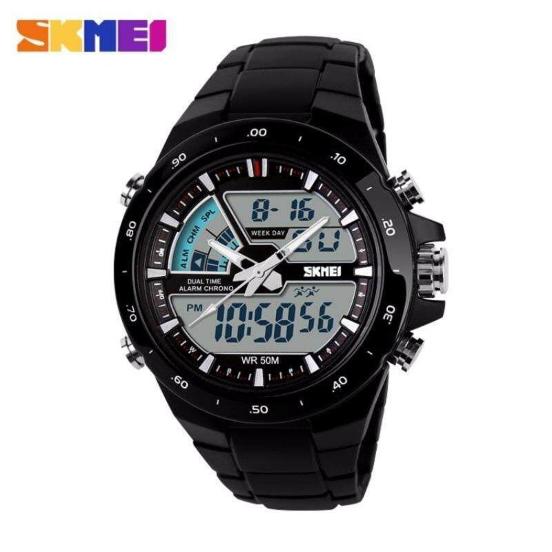 GTE SKMEI 1016 Mens Dual Time Display LED Black Rubber Strap Watch - 2 Colors Available - Black - Fulfilled by GTE SHOP Malaysia
