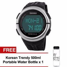 SKMEI 1058 LED Backlight Heart Rate Monitor Pedometer Sport Watch (Black) Free Water Bottle MyBottle Malaysia