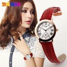 SKMEI 1083 Korea Retro Vintage Women Elegant Gold Leather Waterproof Quartz Watch - Red