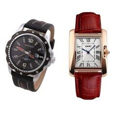 SKMEI 1085 Ladiess Classic Rectangle Dial Leather Watch (Gold Red)+Curren 8104 Black PU Leather Quartz Watch Malaysia