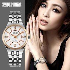SKMEI 1133 Ladiess Luxury Rhinestone Quartz Stainless Steel Watch (Gold) Malaysia