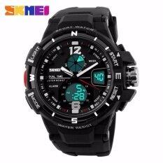 SKMEI 1148 Digital Men Outdoor Sports PU Strap Watches Waterproof Dual Display Wristwatches - White Malaysia
