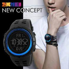 SKMEI 1251 Casual Mens Outdoor Sports 50M Waterproof Watches Double Time Watch Alarm Chrono Countdown Digital Wristwatches - Black Blue Malaysia