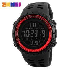 SKMEI 1251 Men Sports 50M Waterproof Countdown Double Time Watch Alarm Chrono Digital Wristwatches - Black Red