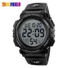 SKMEI 1258 Men New Sports Multifunction 50M Waterproof Wristwatches Fashion Outdoor Digital Watch - Black Malaysia