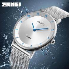 SKMEI 1264 Mens Watches Fashion Sports quartz-watch Stainless Steel Mesh Brand Men Watches Multi-function Wristwatch Chronograph Malaysia