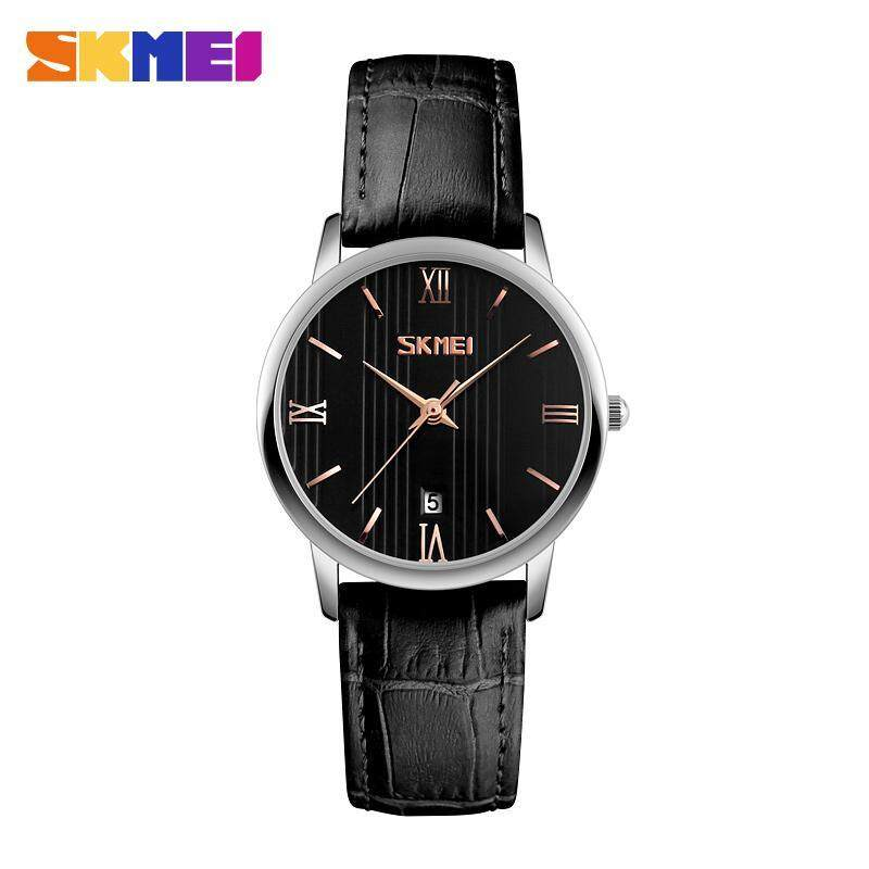 SKMEI 9130 Couple Models Watch The Trend of Waterproof Belt Quartz Watch Male Black - Lily Malaysia