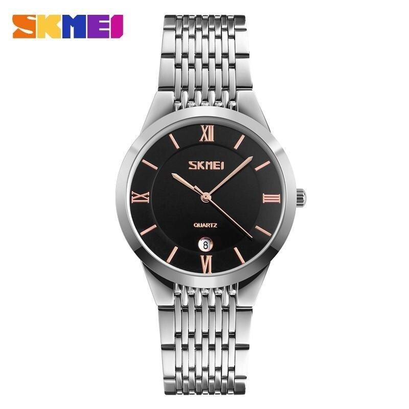 SKMEI 9139 Mens Ladies Quartz Watch Stainless Steel Waterproof Watch Black / Gold Male Malaysia
