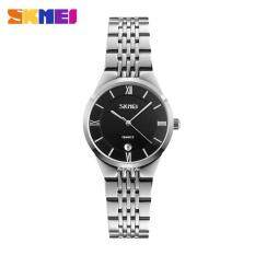 SKMEI 9139 Mens Ladies Quartz Watch Stainless Steel Waterproof Watch Black / Silver Female Malaysia