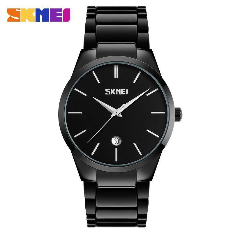 SKMEI 9140 Stainless Steel Watch Mens Uniform Watch Mens Waterproof Watch-Black Malaysia