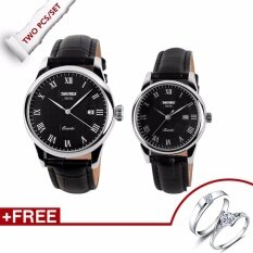 SKMEI Brand 9058 His-and-hers Watches Fashion Casual Watches Leather Strap 30M Waterproof Lovers Quartz Wristwatches - Black+White+Black Malaysia