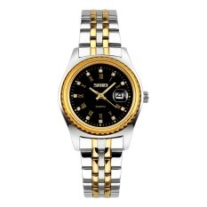 SKMEI Brand Watch Lovers Watches  Brand Gold Color Stainless Steel Waterproof Quartz Casual Men Clock Women Wristwatch  9098 Malaysia