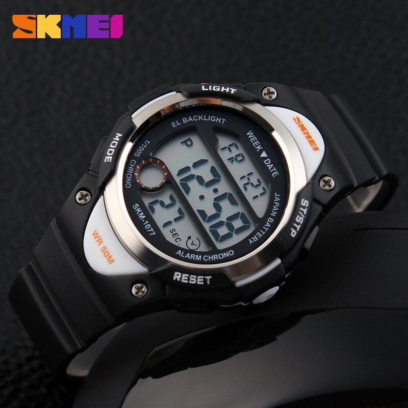 Discount Skmei Children Waterproof Alarm Stopwatch Led Display Outdoor Sports Digital Kids Boy Girls Wristwatch 1077 Intl Skmei On China