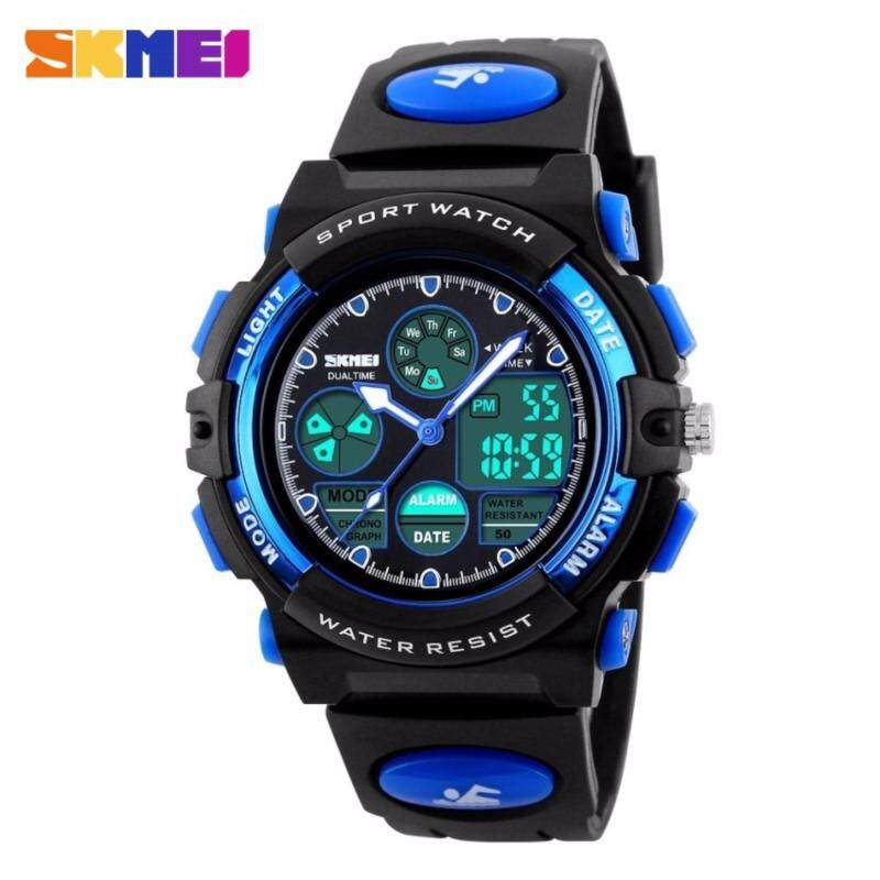 GTE SKMEI Childrens Watches Fashion Sport Waterproof Wristwatches Dual Time LED Analog Digital Quartz Watch For Boys Kids Original - 4 Colors Available - Blue - Fulfilled by GTE SHOP Malaysia