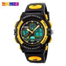 GTE SKMEI Childrens Watches Fashion Sport Waterproof Wristwatches Dual Time LED Analog Digital Quartz Watch For Boys Kids Original - 4 Colors Available - Yellow - Fulfilled by GTE SHOP Malaysia