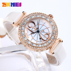 SKMEI Fashion Casual Women Watches Luxury Brand Leather Strap Quartz Watch Dress Ladies Rhinestone Wrist Watch Relogio Feminino Malaysia