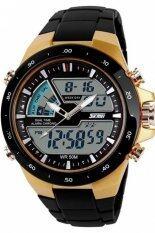 Skmei mans Outdoor sport Quartz Silicone Army watch 50CM Waterproof Wristwatches 1016 - Black Gold Malaysia