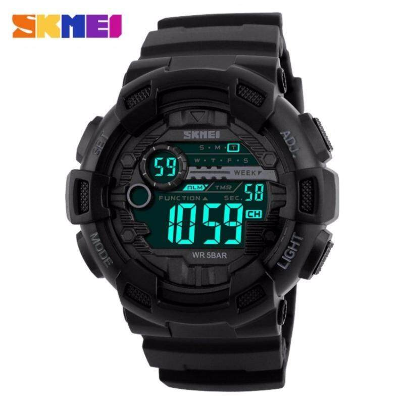 SKMEI Men Sports Watches 50M Waterproof Back Light LED Digital Watch Chronograph Shock Double Time Wristwatches- All Black Malaysia