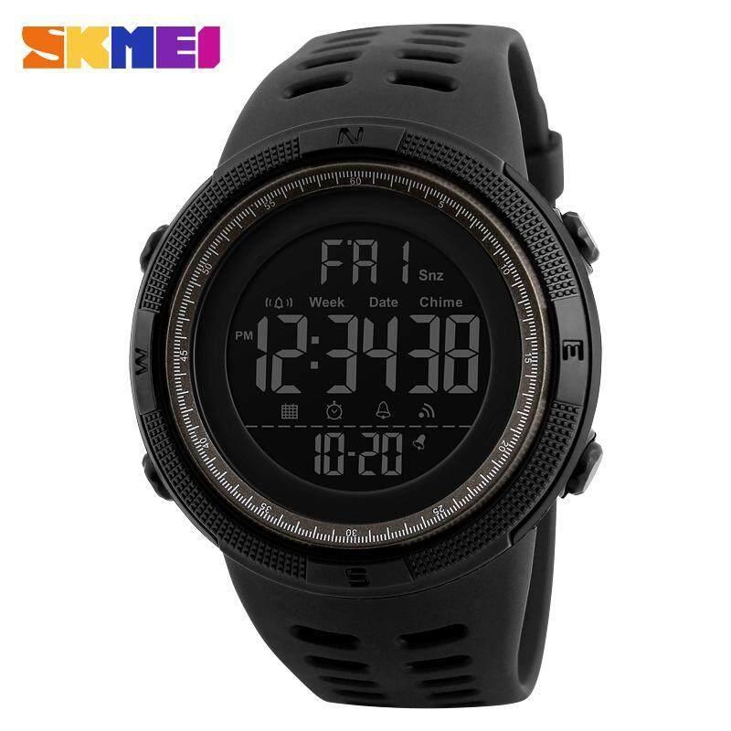 SKMEI Men Sports Watches Countdown Double Time Watch Alarm Chrono Digital Wristwatches 50M Waterproof Watches 1251 - Black Gray Malaysia