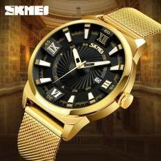 SKMEI New Fashion Elegant Zinc Alloy Quartz Watches Men Top Luxury Business Gold Watch Stainless Steel Waterproof Retro Wristwatches 9166 Malaysia