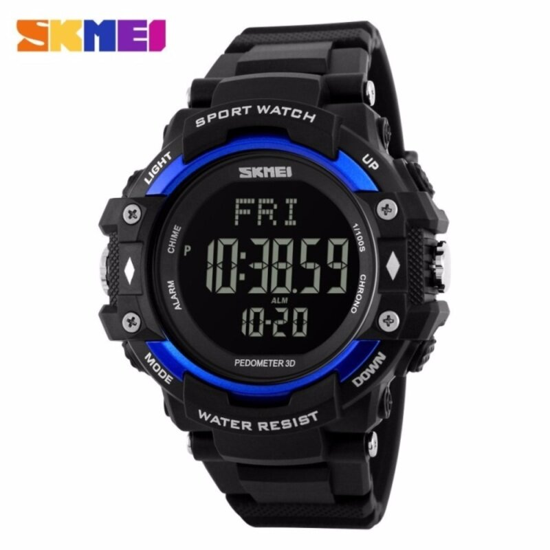 GTE SKMEI Pedometer Heart Rate Monitor Waterproof Sports Watches Calories Counter Fitness Tracker Digital Watches Men - 4 Colors Available - Blue - Fulfilled by GTE SHOP Malaysia