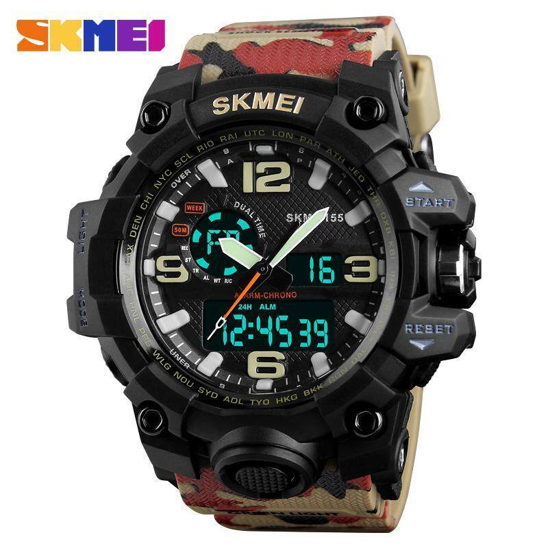 Skmei Watch For Men Led Digital Quartz Analog Dual Time Zones Waterproof Multifunction Mens Camouflage Pu Strap Outdoor Sports Watches Military Style 1155 Malaysia