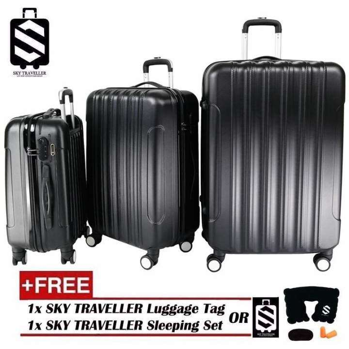 SKY TRAVELLER Big Stripe 3-In-1 Ultralight Luggage Set (20Inch+24Inch+28Inch) - Black (FREE) SKY TRAVELLER Luggage Accessories - Fulfilled by GTE SHOP