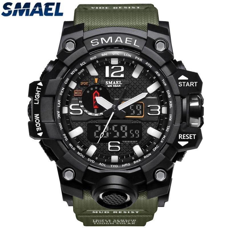 SMAEL Brand Sport Watch Mens Fashion Analog Quartz LED Digital Electronic Watch Men Multifunctional Waterproof Military Watches Malaysia