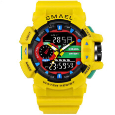 c701ca3cd49 SMAEL Watch 1436 Men Gold Sports Watches LED Dual Display Outdoor Waterproof  Watch S-SHOCK