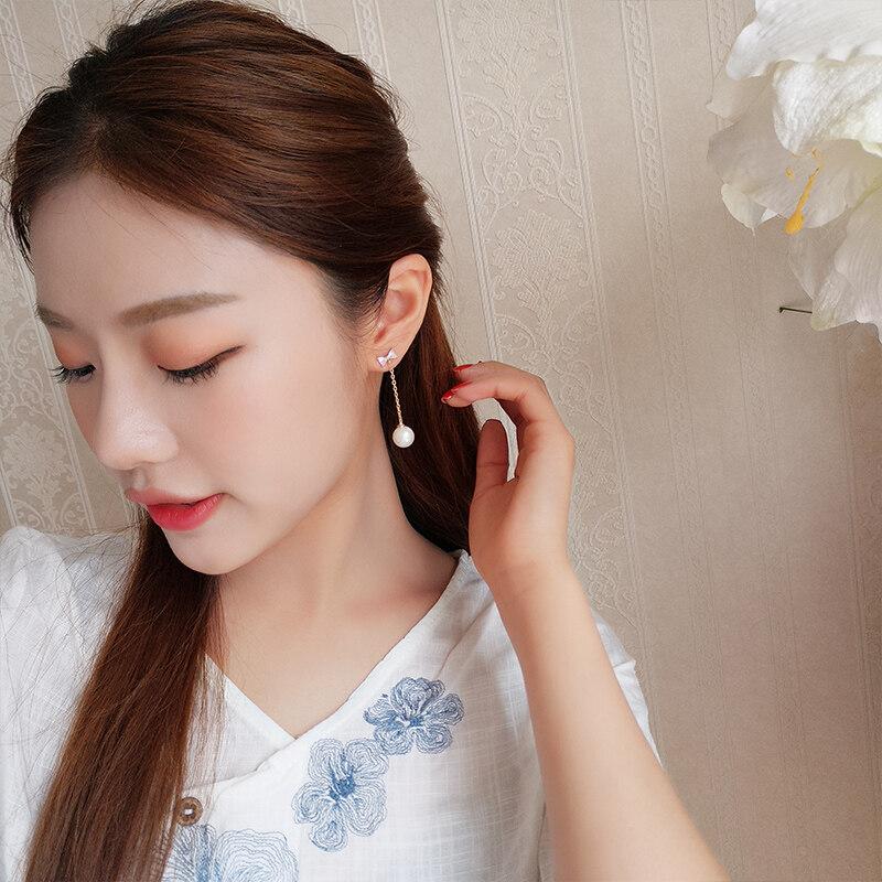 Pintar Mutiara Anting-Anting Wanita Temperamen Korea Anting-Anting Anting Perak Silver Minimalis Kepribadian Manis Anting-Anting Anti-alergi Di Jepang dan Korea Selatan -Internasional