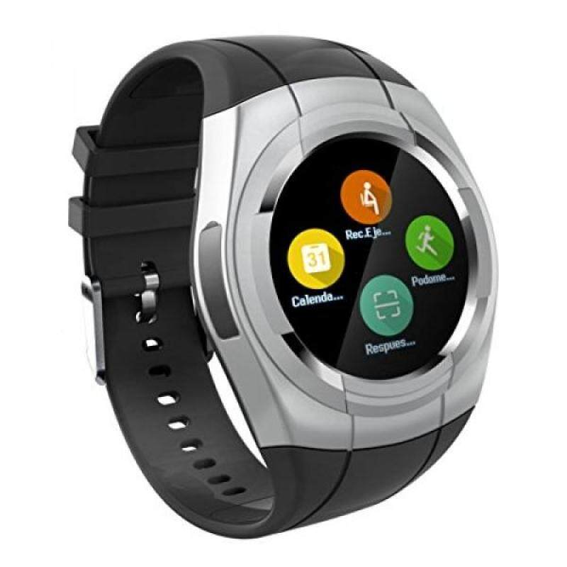 Smart Watch Bluetooth Smartwatch Touch Screen Wearable Multi-function Sport Business Wristwatch for Android Support SIM/TF Card(Sliver) Malaysia