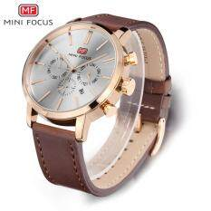 SNG-store Premium Quality Men Watches--MINI FOCUS Brand-MF0023G Casual Leather Wrist Sports Watches Men Quartz Wrist Watch (White) Malaysia
