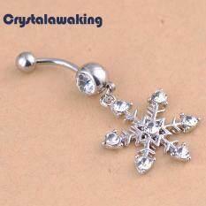 Snowflake Rhinestone Diamante Dangle Navel Belly Button Ring Jewelry Cute