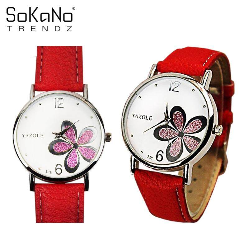 SoKaNo Trendz Yazole Woman Korean Fashion Flower Style Quartz Watch - Red Malaysia
