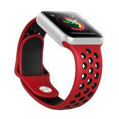 Sports Silicone Watch Band For Apple Watch 38/42mm, Replacement Strap For iWatch Color:Red + Black Size:38mm Malaysia